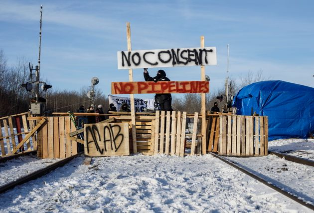 Supporters of the Wet'suwet'en who are against the LNG pipeline, block a CN Rail line just west of Edmonton...