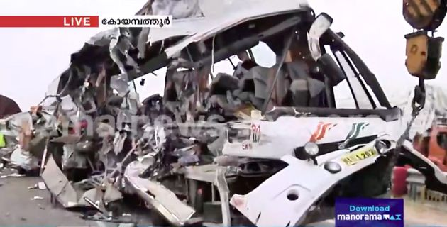 KSRTC bus collision with a container lorry near