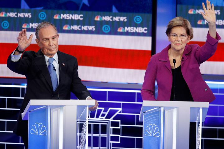 Former New York Mayor Mike Bloomberg and Sen. Elizabeth Warren (D-Mass.) try to get in their time at the Democratic president