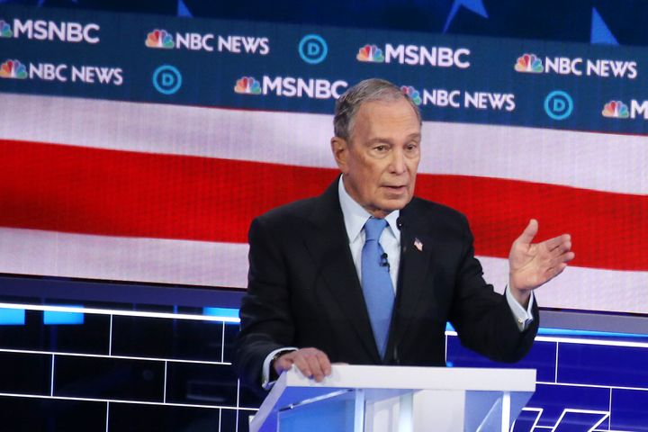 Former New York City Mayor Mike Bloomberg was on the defensive for much of the Democratic presidential debate in Las Vegas on