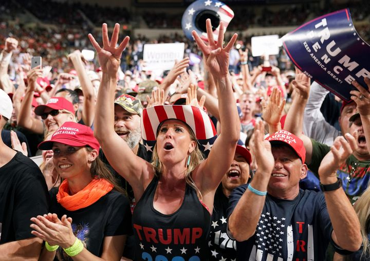 Supporters cheer at President Donald Trump's campaign rally in Phoenix, Feb. 19, 2020.