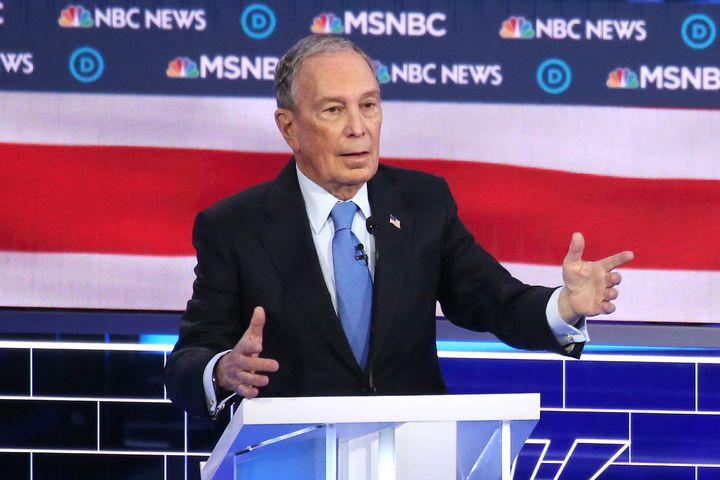 Former New York City Mayor Mike Bloomberg speaks during the Democratic presidential primary debate in Las Vegas on Wednesday.