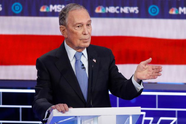 Democratic presidential candidate and former New York City mayor Mike Bloomberg speaks during the Democratic...