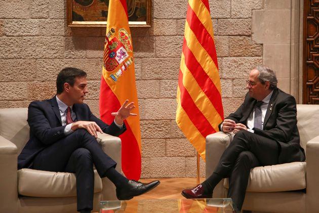 Pedro Sánchez y Quim Torra, el pasado 6 de febrero en el Palacio de la Generalitat, en