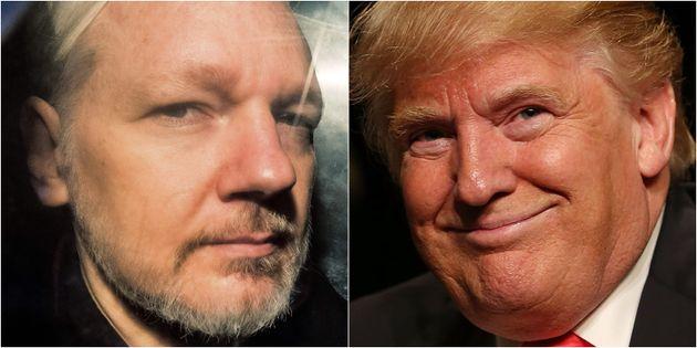 Julian Assange y Donald Trump, en sendas imágenes de