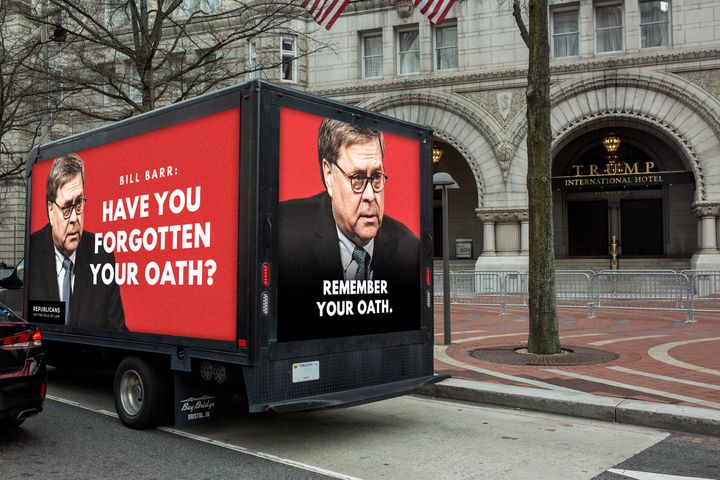 Republicans for the Rule of Law shared this mocked-up version the truck with HuffPost.
