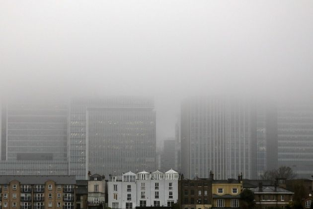 A low fog in Canary Wharf,