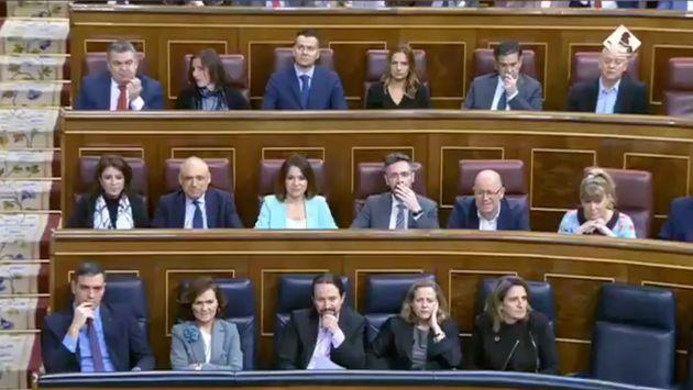 La reacción de los ministros en la intervención de García