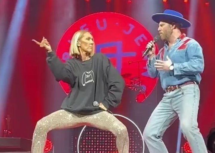 Céline Dion et Claude Cobra du groupe Bleu Jeans Bleu au Centre Bell, le 19 février 2020.