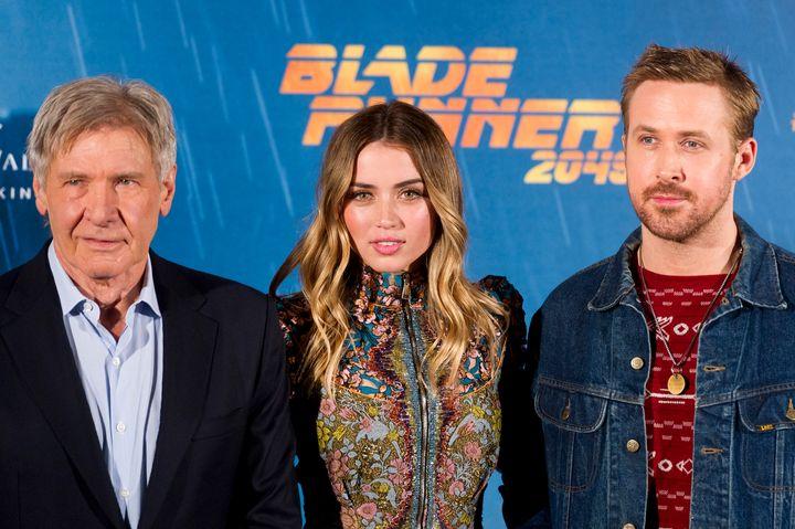 Harrison Ford, Ana de Armas y Ryan Gosling en la presentación de Blade Runner 2049 en Madrid.