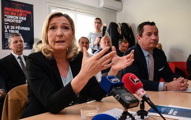 Marine Le Pen lors d'une conférence de presse à