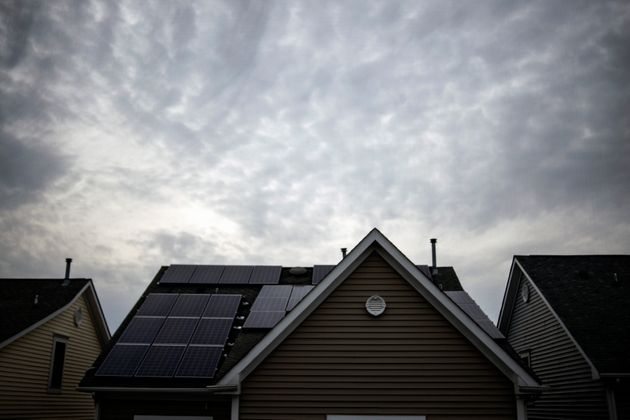 Solar panels on the roof of a house in Rockville,