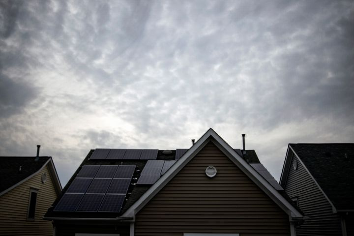 Solar panels on the roof of a house in Rockville, Maryland.