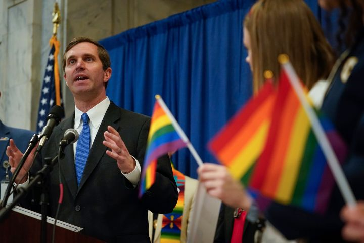 Kentucky Gov. Andy Beshear speaks at a Feb. 19 rally held by Fairness Campaign to advance LGBTQ rights.