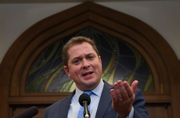 Conservative Leader Andrew Scheer speaks with the media on Parliament Hill on Feb. 18,