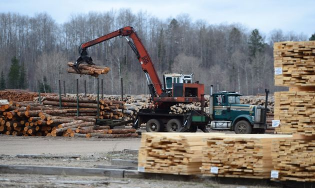 Logs are unloaded at Murray Brothers Lumber Company woodlot in Madawaska, Ont. on April 25,