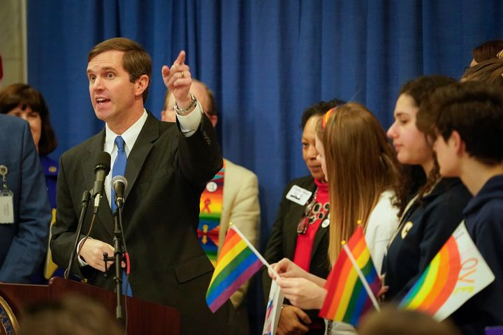 """Beshear has supported a statewide ban on """"conversion"""" therapy, and has spoke in favor of a """"statewide fairness"""" m"""