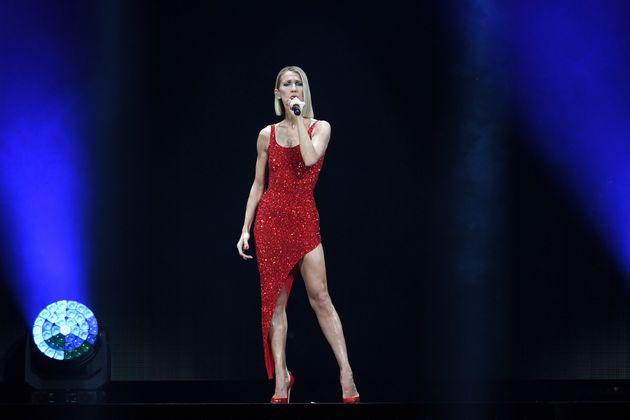 Céline Dion, lors d'un spectacle à