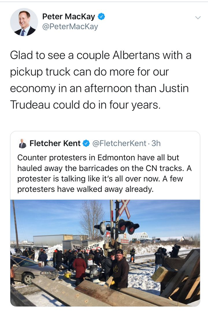 A screengrab of a deleted tweet from Conservative leadership hopeful Peter MacKay posted on Feb. 19, 2020.