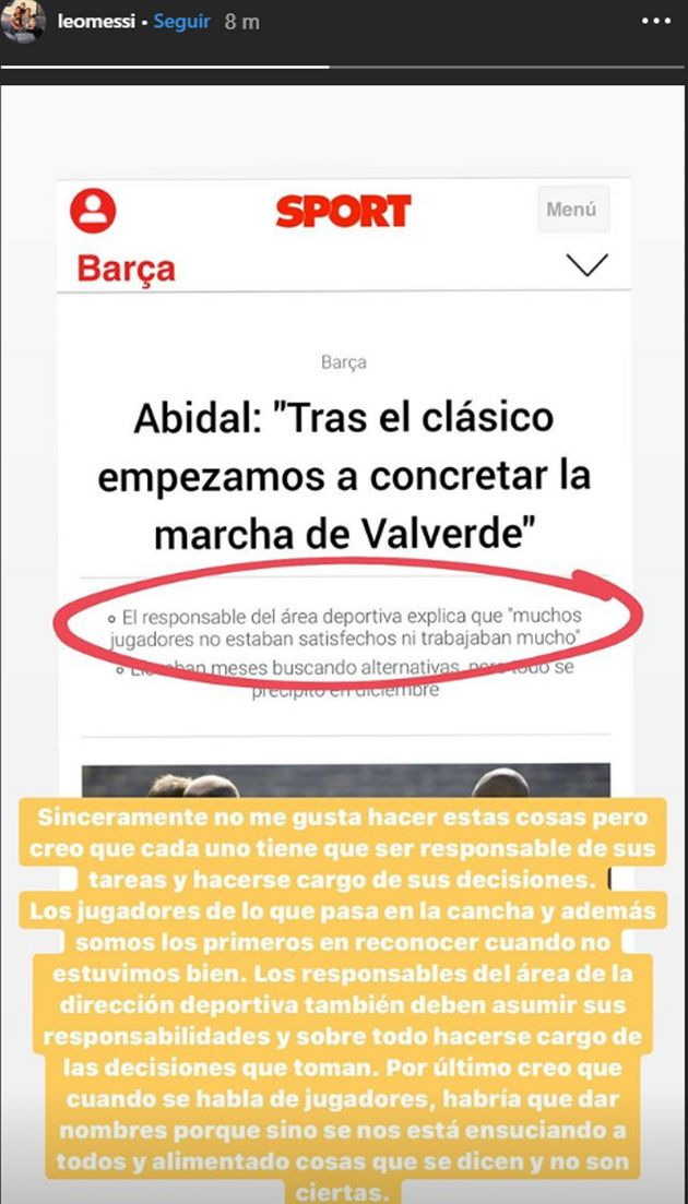 Messi contesta a Abidal en
