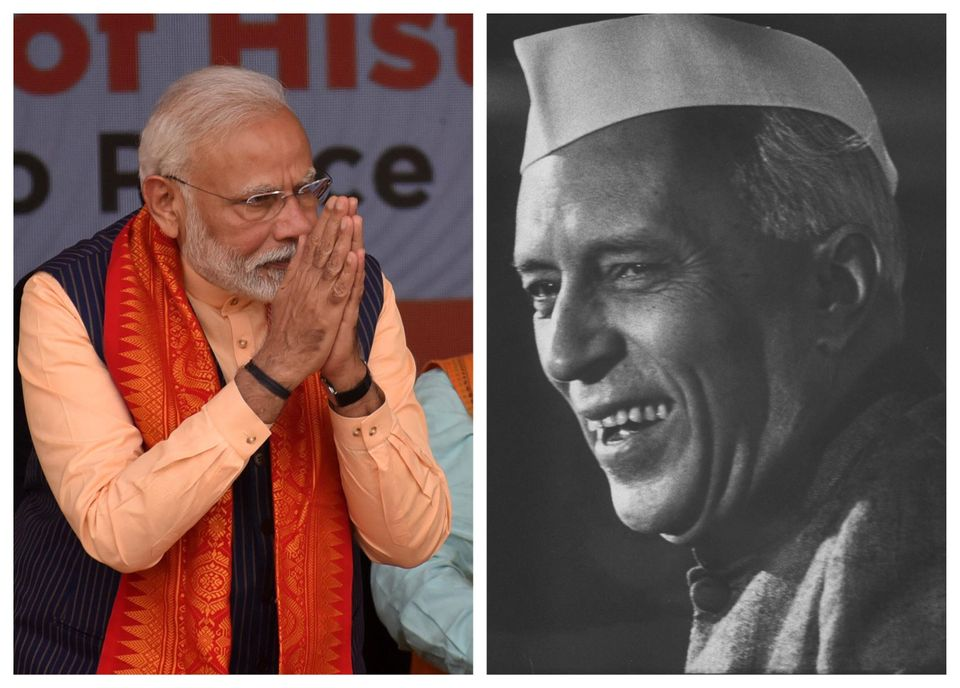 Prime Minister Narendra Modi (left) and former Prime Minister Jawaharlal Nehru