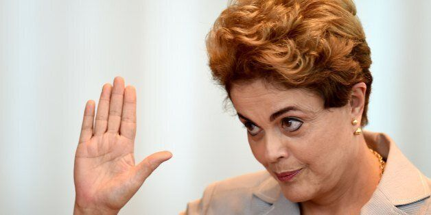 Suspended Brazilian President Dilma meets with foreign correspondents at Alvorada Palace in Brasilia on June 14, 2016.  / AFP
