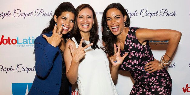 CHARLOTTE, NC - SEPTEMBER 05:  (L-R) America Ferrera, Maria Teresa Kumar, and Rosario Dawson attend Voto Latino's Purple Carp