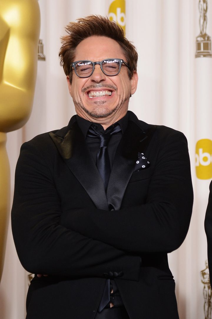 HOLLYWOOD, CA - FEBRUARY 24:  Presenter Robert Downey Jr. poses in the press room during the Oscars held at Loews Hollywood H