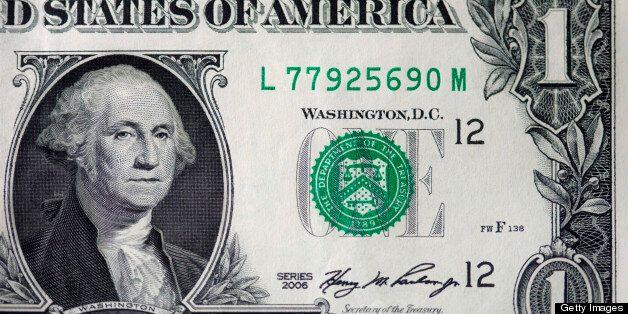 A close up of George Washington on an American dollar bill
