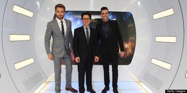 SYDNEY, AUSTRALIA - APRIL 23:  (L-R) Chris Pine, Director J.J. Abrams and Zachary Quinto arrive at the 'Star Trek Into Darkne
