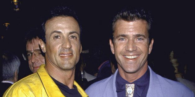 (L-R) Actors Sylvester Stallone and Mel Gibson.  (Photo by David Mcgough/DMI/Time Life Pictures/Getty Images)