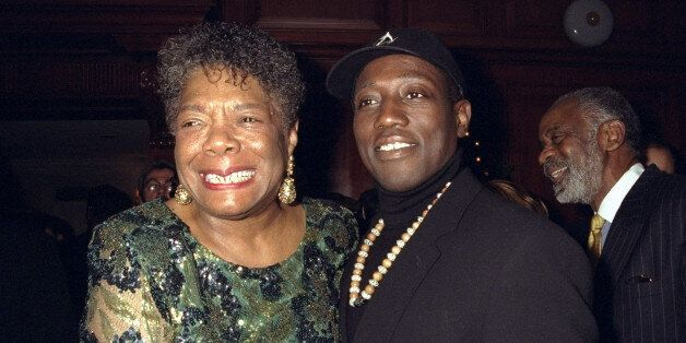 UNITED STATES - DECEMBER 07:  Maya Angelou and actor Wesley Snipes at movie premier for 'Down In The Delta' party held at Lau