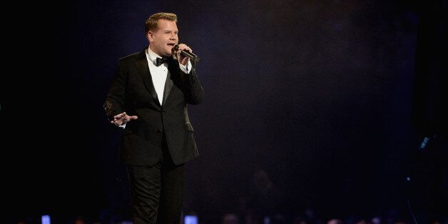 LONDON, ENGLAND - FEBRUARY 19:  Host James Corden presents The BRIT Awards 2014 at 02 Arena on February 19, 2014 in London, E