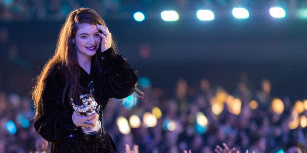 INGLEWOOD, CA - AUGUST 24:  Singer Lorde speaks onstage during the 2014 MTV Video Music Awards at The Forum on August 24, 201
