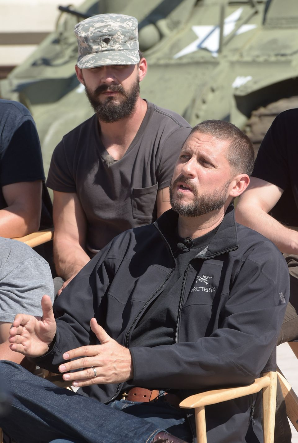 COLUMBUS, GA - OCTOBER 16: Actor Shia LaBeouf and Writer/Director David Ayer attend 'Fury' - Fort Benning Georgia Special Scr