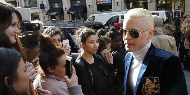US actor Jared Leto arrives before Balmain the 2015-2016 fall/winter ready-to-wear collection fashion...