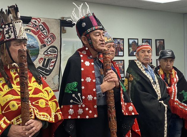 Na'moks, a spokesman for the Wet'suwet'en hereditary chiefs, holds a press conference in Smithers, B.C....