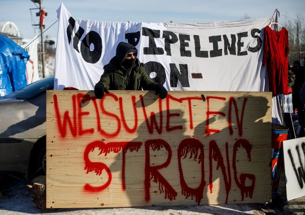 Supporters of the Wet'suwet'en hereditary chiefs block a CN Rail line just west of Edmonton on