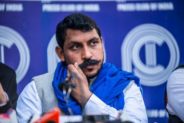 Bhim Army chief Chandrashekhar Azad speak to media during a press conference at the Press Club of India,...