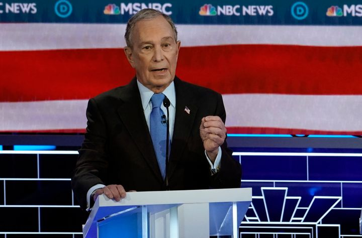 Former New York City Mayor Mike Bloomberg speaks at the ninth Democratic presidential debate at the Paris Theater in Las Vega
