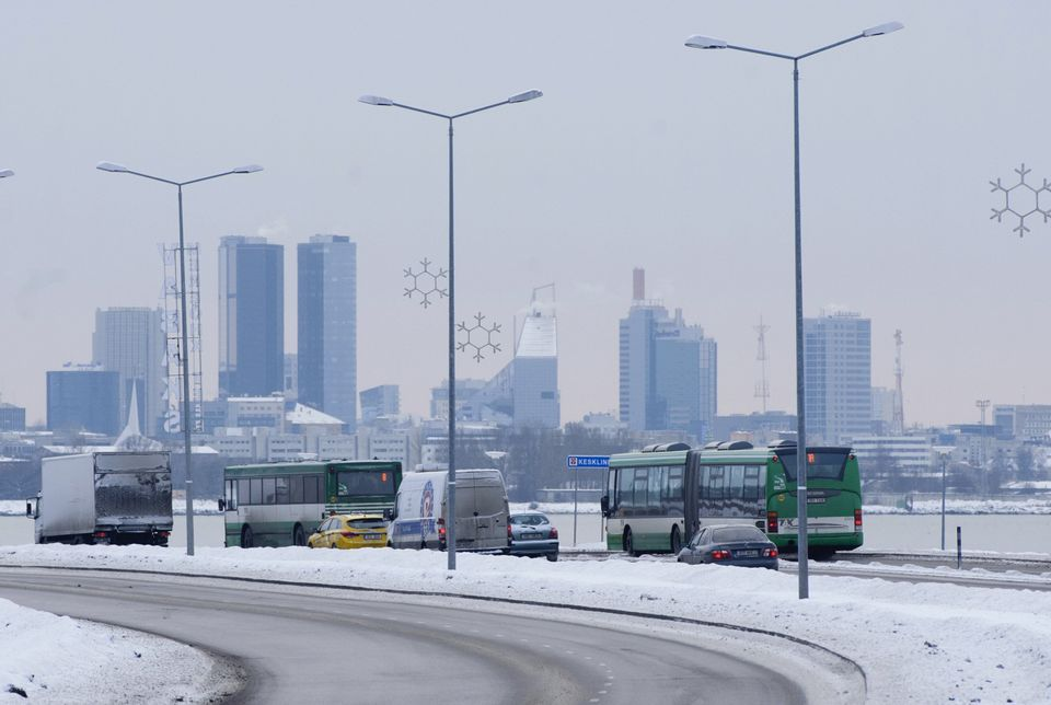 Buses driving across Tallinn, Estonia. On Jan. 1, 2013, the city became the first capital in the European...