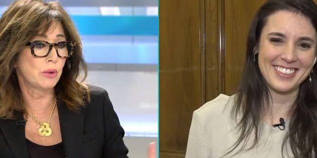 La periodista Ana Rosa Quintana (i) y la ministra de Igualdad, Irene Montero