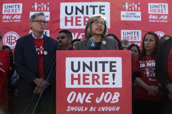 Geoconda Argüello-Kline, secretary-treasurer of the Culinary Workers Union, announced on Feb. 13 that the union would no