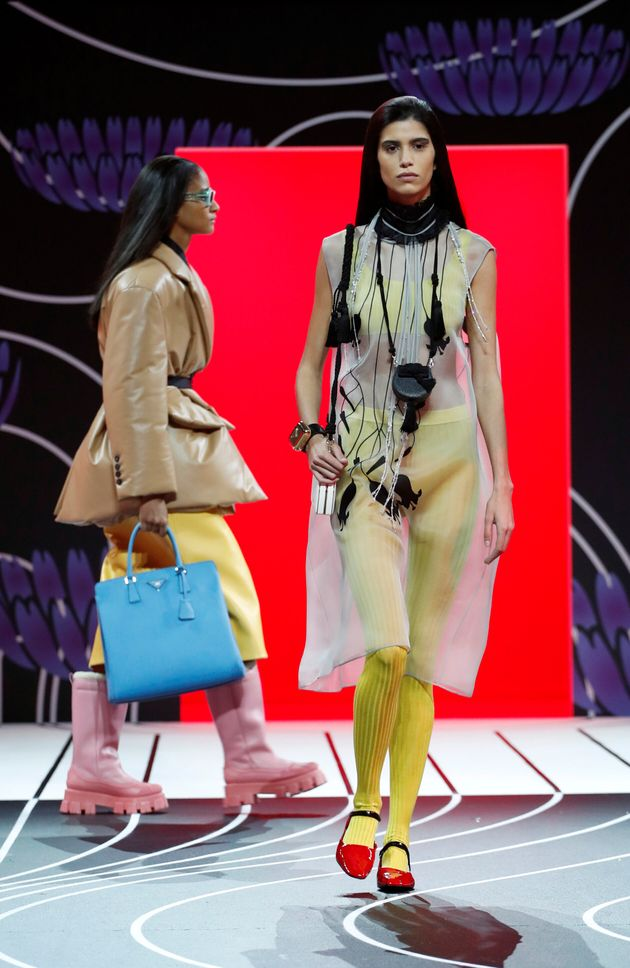 Models present creations from the Prada Autumn/Winter 2020 women collection during Milan Fashion Week...