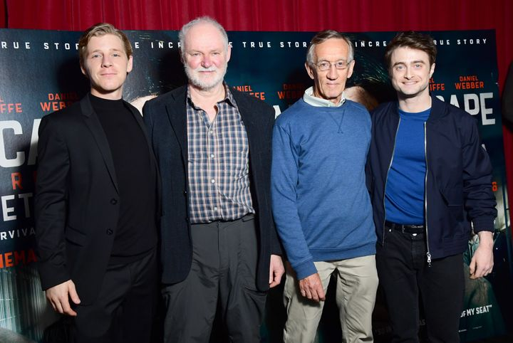 "From left to right, Daniel Webber, Stephen Lee, Tim Jenkin and Daniel Radcliffe at a screening for the film ""Escape From Pret"
