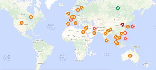 La carte des pays impactés par le