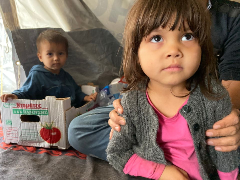 Children at Moria, a refugee camp on the island of
