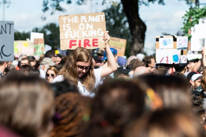 Activists rally for action on climate change on Sept. 27, 2019 in Montreal.