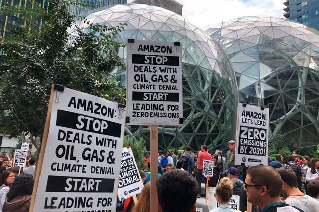 FILE - In this Sept. 20, 2019, file photo, Amazon workers participated in a climate strike in Seattle...