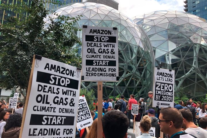 FILE - In this Sept. 20, 2019, file photo, Amazon workers participated in a climate strike in Seattle on Sept. 20, 2019.